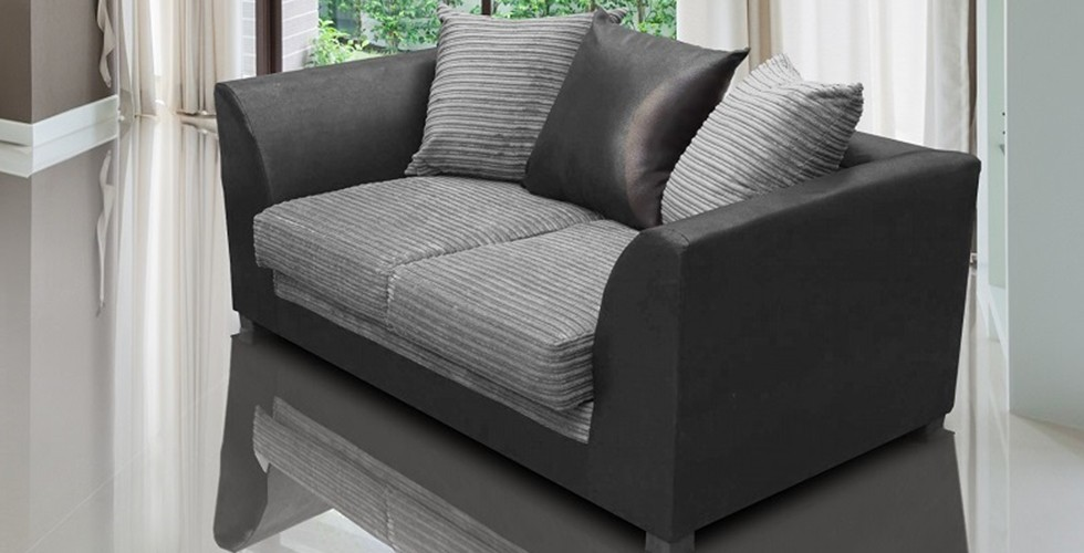 Zara 2 Seater Sofa Black and Gray