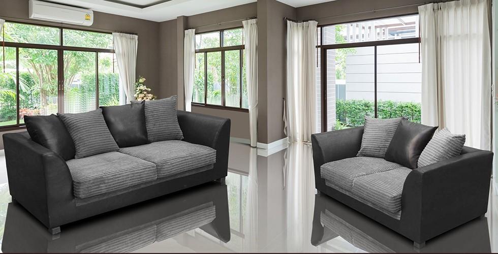 Zara 3+2 Seater Black and Gray