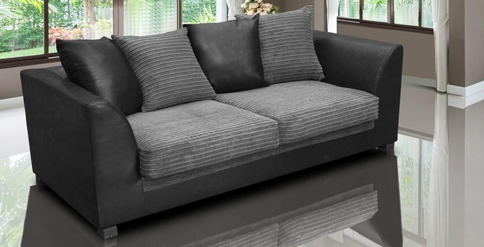 Zara 3 Seater Sofa Black and Gray