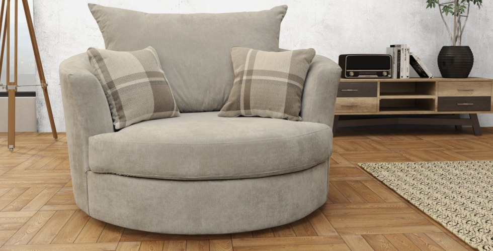 Ashby Cuddle Swivel Chair Silver Fabric