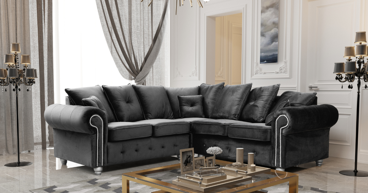 Athens 3 Seater Sofa - Black Plush Velvet
