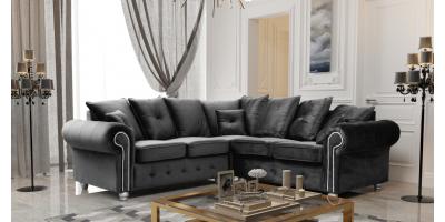 Athens Corner Sofa - Black Plush Velvet