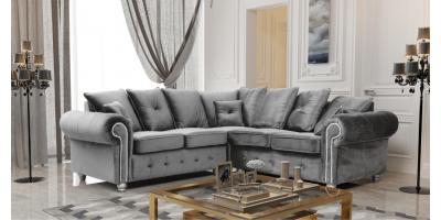 Athens Corner Sofa - Silver Grey Plush Velvet