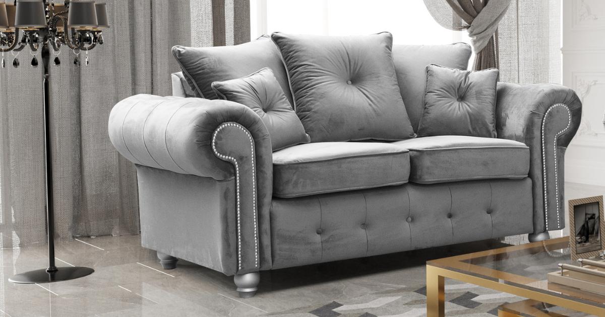 Athens 2 Seater Sofa - Silver Grey Plush Velvet