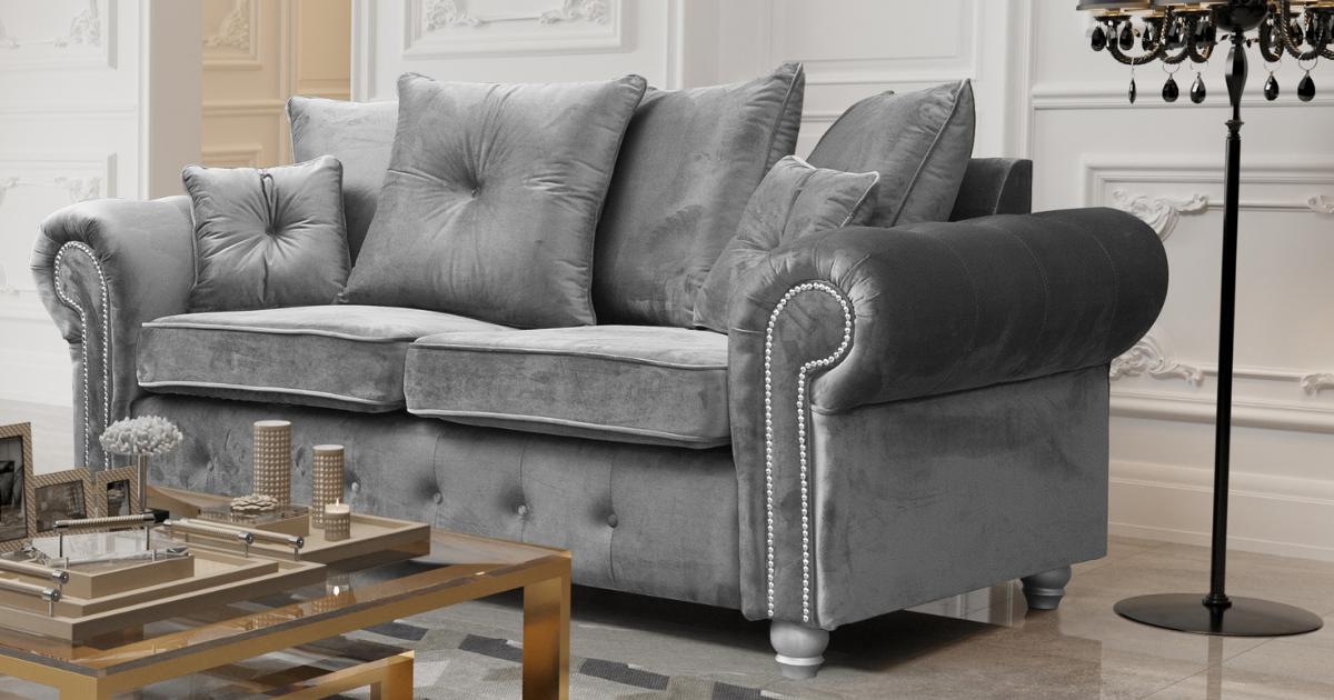 Athens 3 Seater Sofa - Silver Grey Plush Velvet