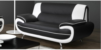 Bari 2 Seater Black-White Sofa