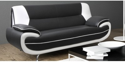 Bari 3 Seater Black-White Sofa