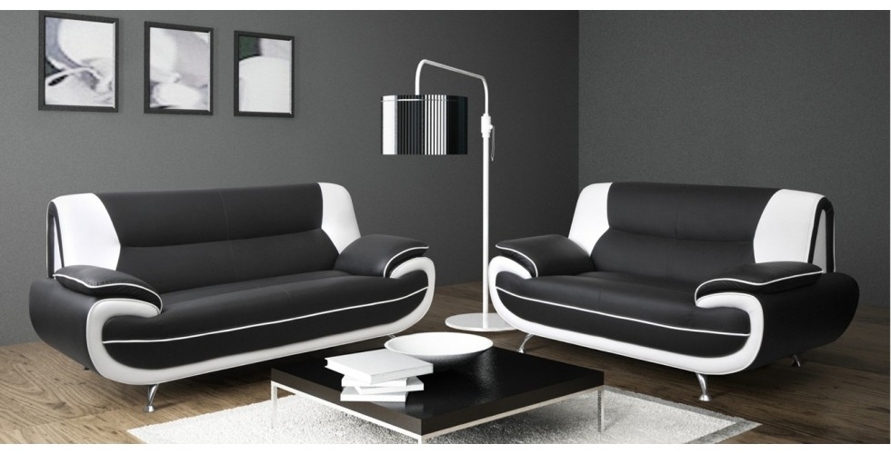 Bari 3+2 Seater Sofa Set Black-White