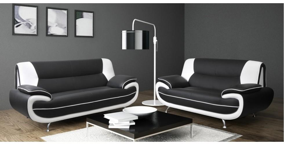 Amazing Bari 3+2 Seater Sofa Set Black White