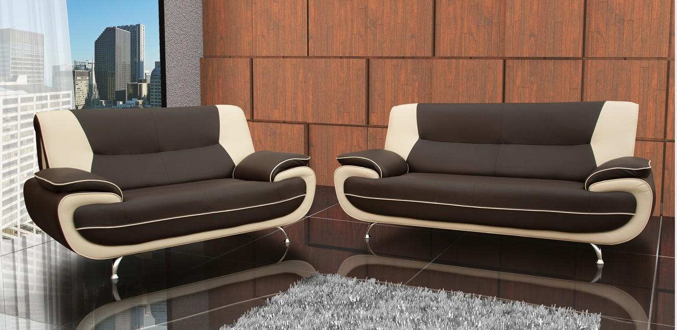 Bari 3+2 Seater Sofa Set Brown-Cream