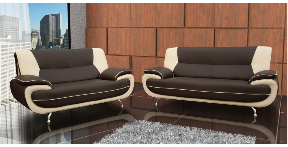 Bari 3 +2 Seater Sofa Set Brown-Cream Leather