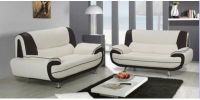 Bari 3+2 Seater Sofa Set White-Black