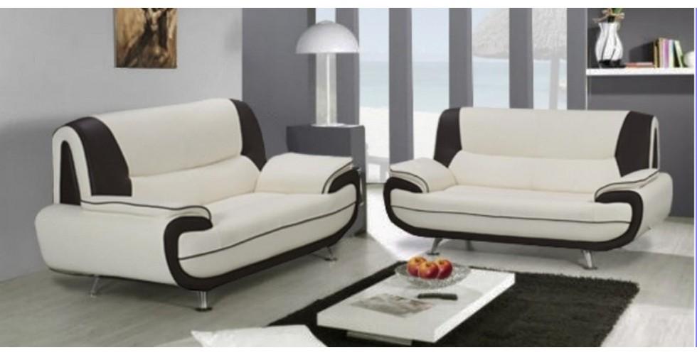 Bari 3 2 Seater Sofa Set White Black