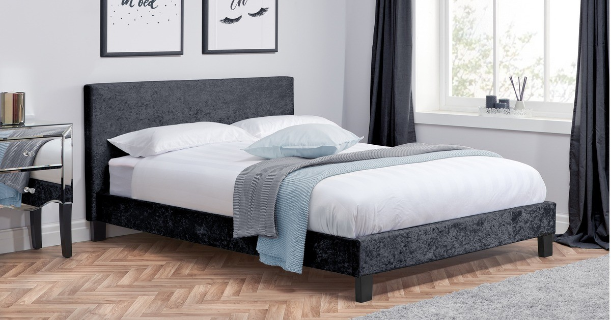 Hilton Double Bed - Black Crushed Velvet 135cm