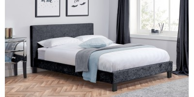 Hilton Small Double Bed - Steel Crushed Velvet 120cm