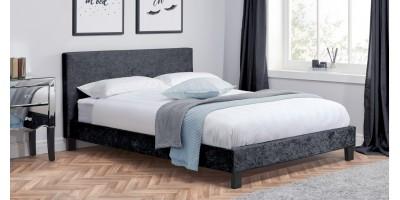 Hilton King Size Bed - Black Crushed Velvet