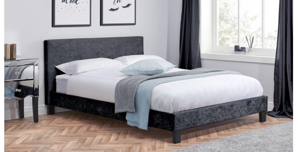 Hilton Single Bed Black Crushed Velvet