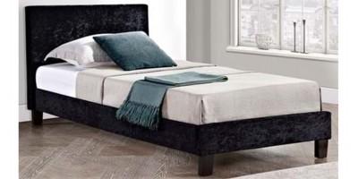 Hilton Single Black Crushed Velvet 90cm