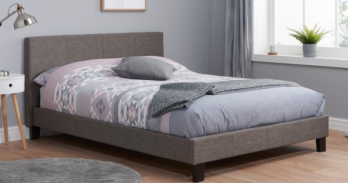 Hilton Double Bed - Grey Fabric 135cm