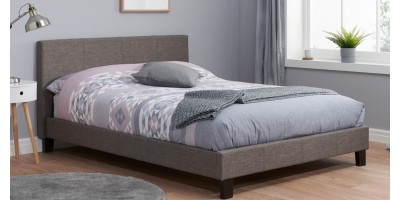 Hilton Small Double Bed Grey Fabric 120cm