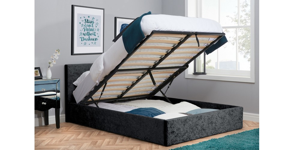 Hilton Small Double Ottoman Double Bed Black Crushed Velvet 120cm