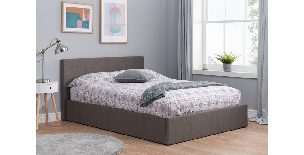 Hilton Small Ottoman Double Bed Grey 120cm