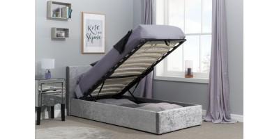 Hilton Single Ottoman Bed Steel Crushed Velvet 90cm