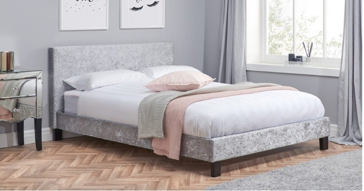 Hilton Double Bed - Steel/Grey Crushed Velvet 135cm
