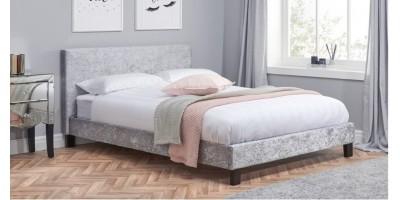 Hilton King Size Bed - Steel-Grey Crushed Velvet