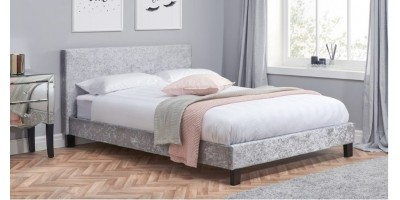 Hilton Double Bed - Steel/Grey Crushed Velvet 135cm