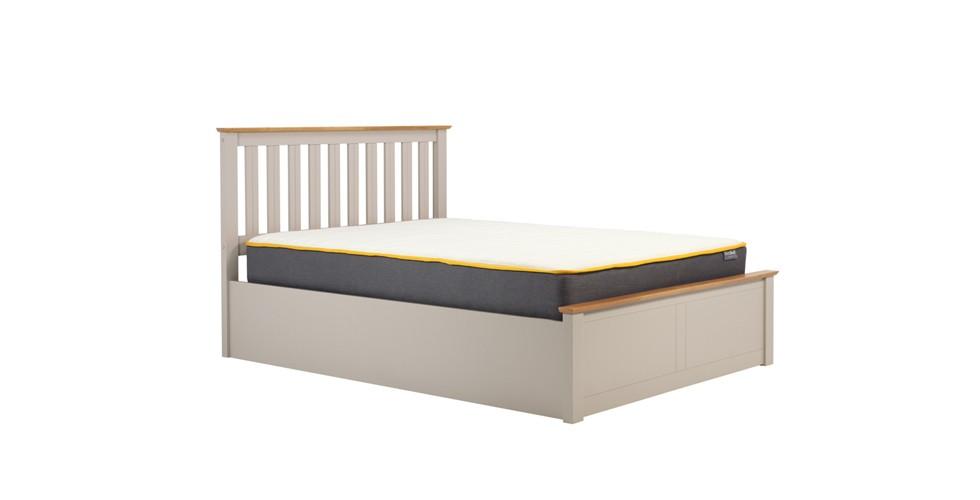 Milano Kingsize Ottoman Double Bed Pearl Grey 150cm
