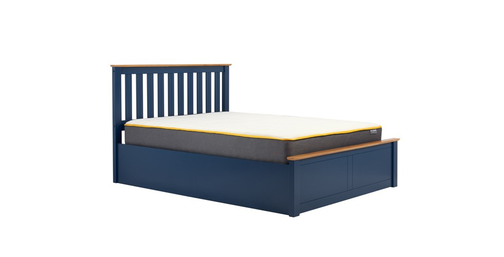 Milano Small Ottoman Double Bed Navy Blue 120cm