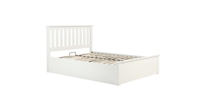 Milano Kingsize Ottoman Double Bed White 150cm