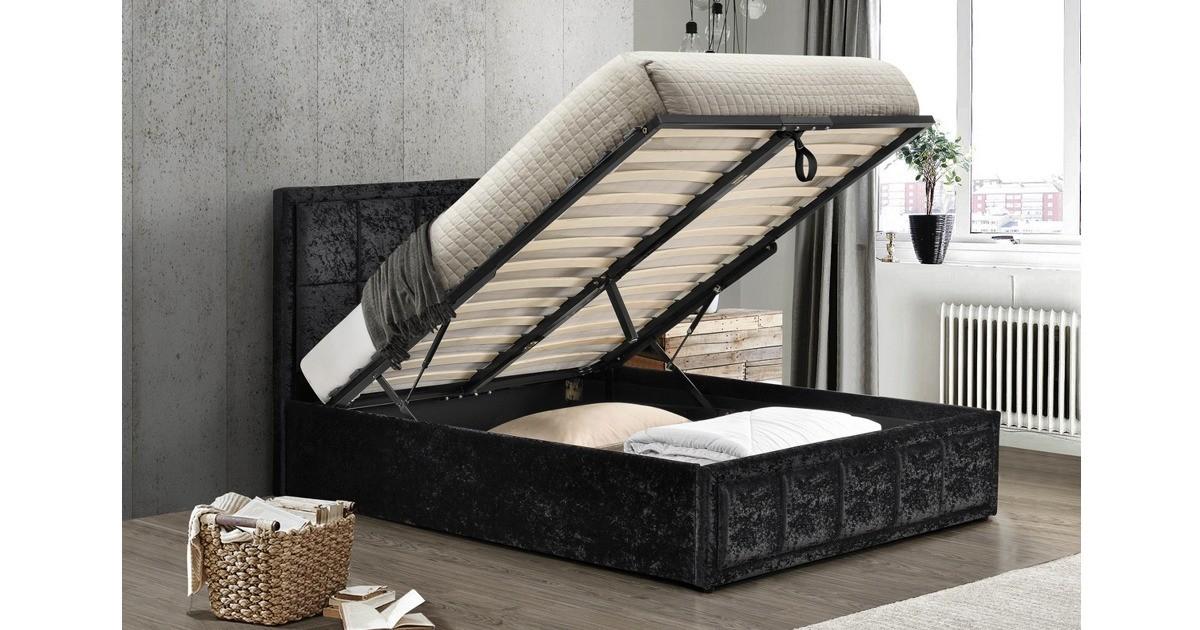 Osaka Ottoman Small Double Bed - Black Crushed Velvet