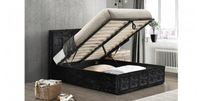 Osaka Ottoman Small Double Bed - Black Crushed Velvet