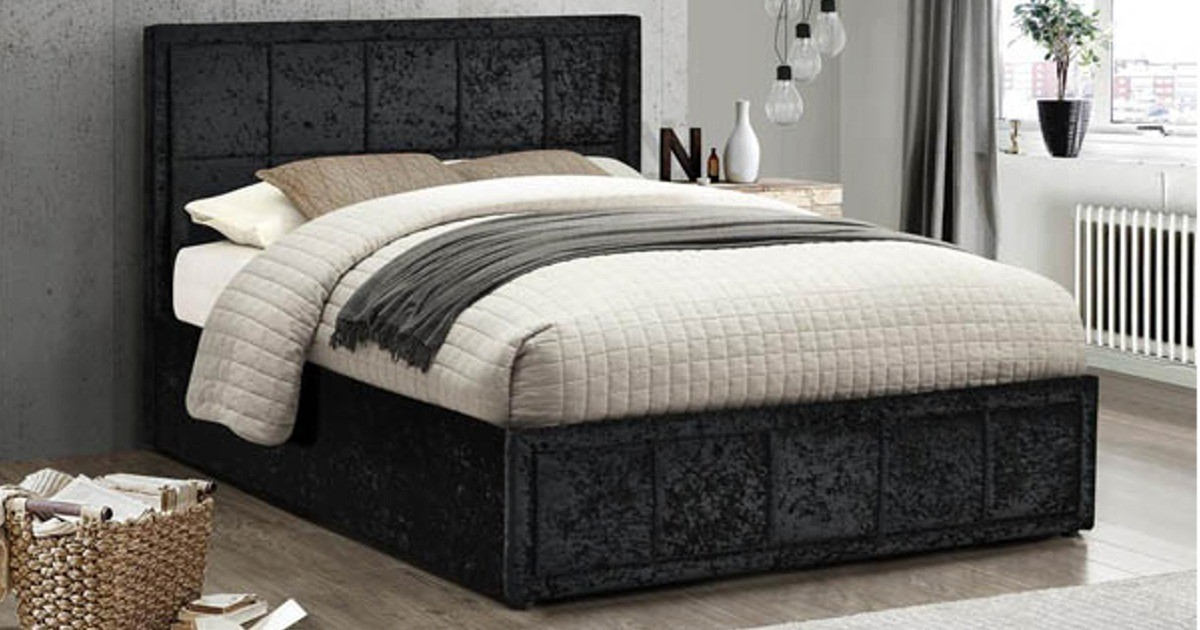 Osaka King Size Bed - Black Crushed Velvet