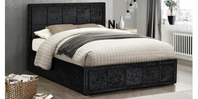 Osaka Small Double Bed - Black Crushed Velvet