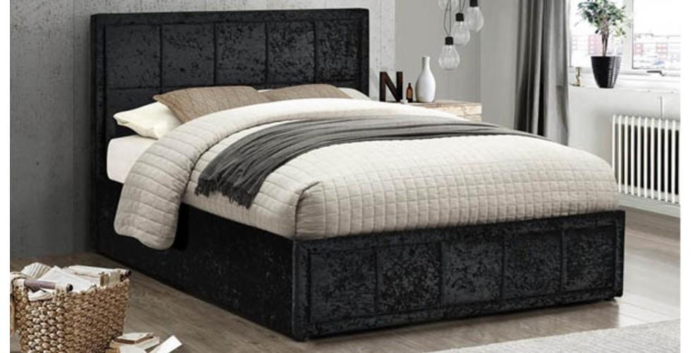 Osaka Small Double Bed - Black Crushed Velvet