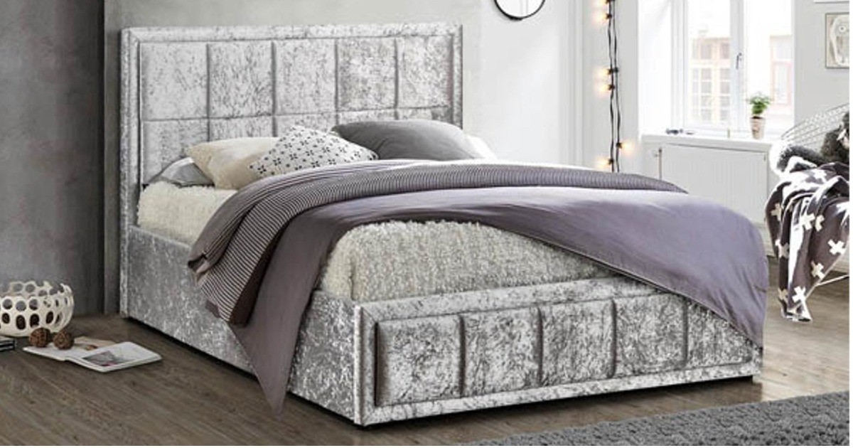 Osaka Small Double Bed - Grey Crushed Velvet
