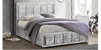 Osaka Small Double Bed - Grey Crushed Velvet