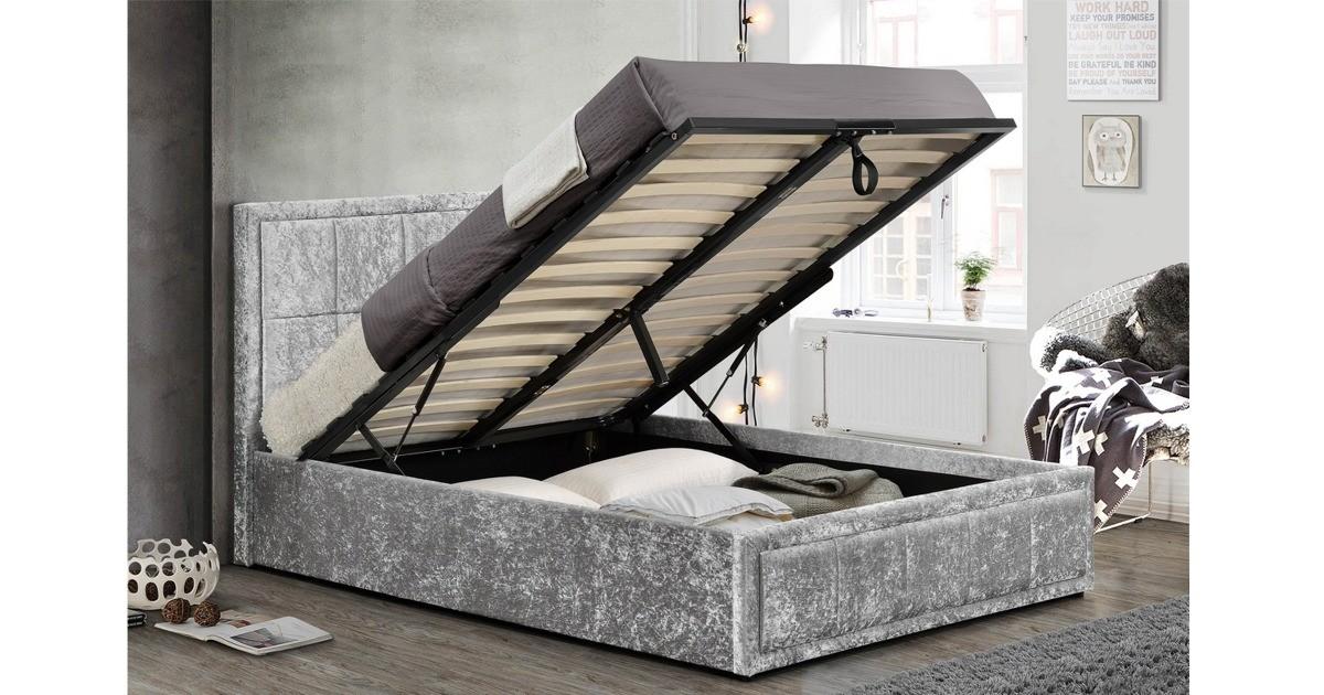 Osaka Ottoman King Size Bed - Grey Crushed Velvet