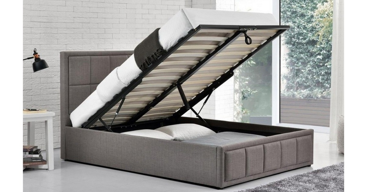 Osaka Ottoman Double Bed - Grey 135cm