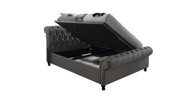 Tryscott Side Ottoman Kingsize Bed Grey 150Cm