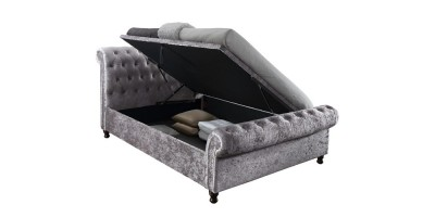 Tryscott Side Ottoman Super Kingsize Bed Steel Crushed Velvet 180Cm