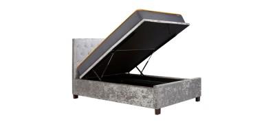 Alexander Ottoman Double Bed Steel Crushed Velvet 135Cm