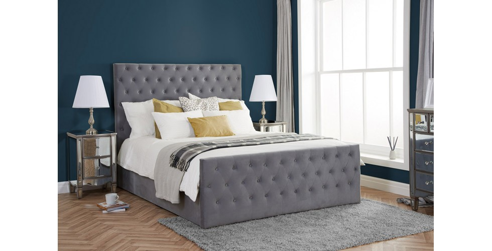 Danson Ottoman Double Bed Grey Velvet 135cm
