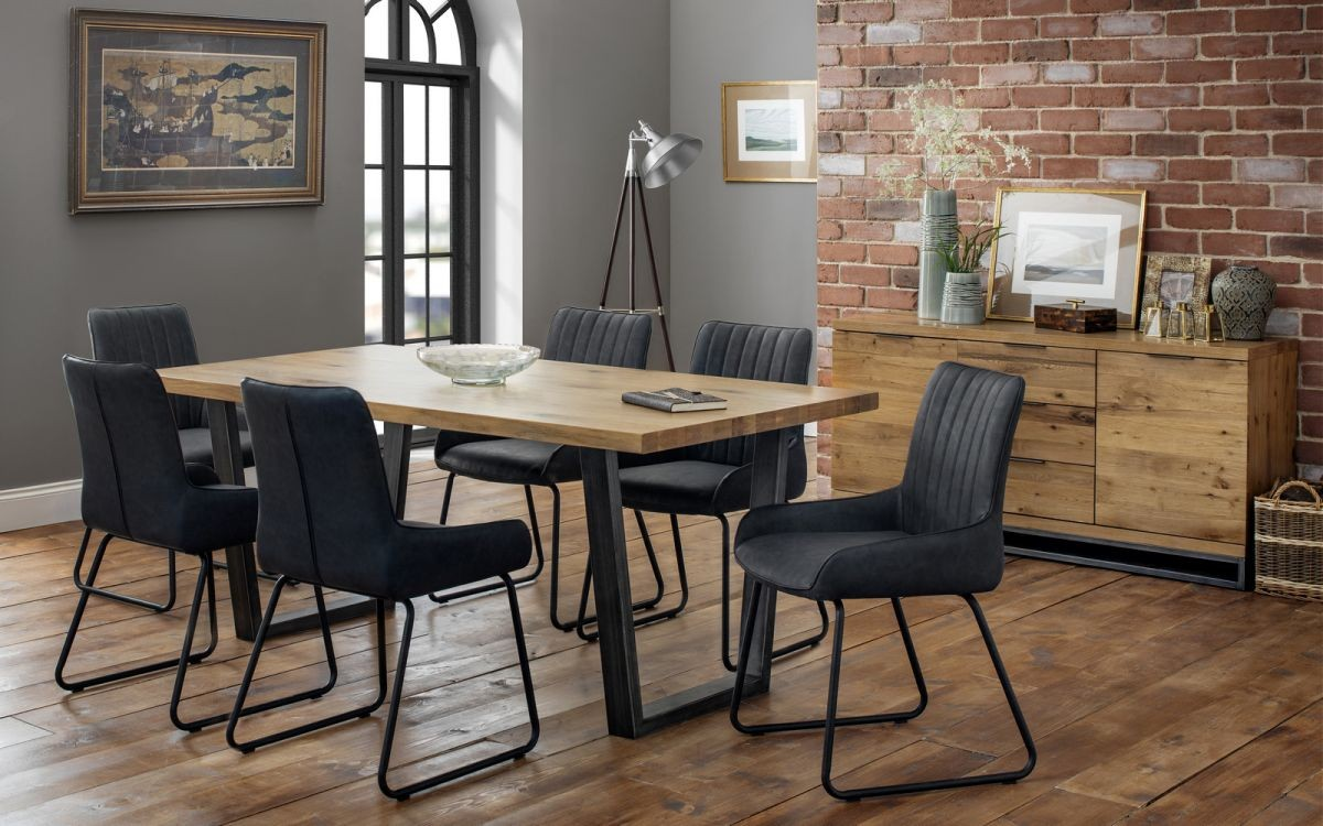 Brooklyn Solid Oak Dining Table + 4 Soho Chairs Set
