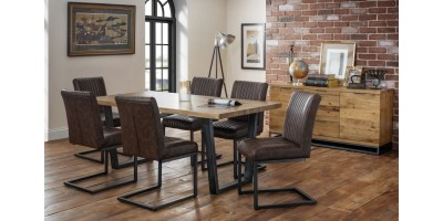 Brooklyn Solid Oak Dining Table + Bench + 4 Chairs Set