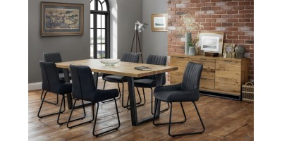 Brooklyn Solid Oak Dining Table + Bench + 4 Soho Chairs Set