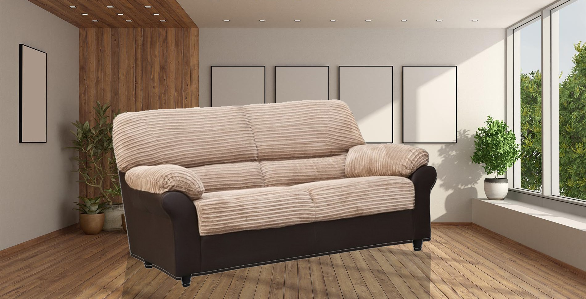 Carrick 3 Seater Brown-Beige
